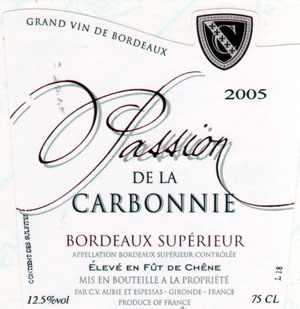 "Cuvée ""PASSION DE LA CARBONNIE"""