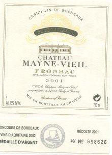 Chateau Mayne-Vieil Fronsac Cuvee Alienor